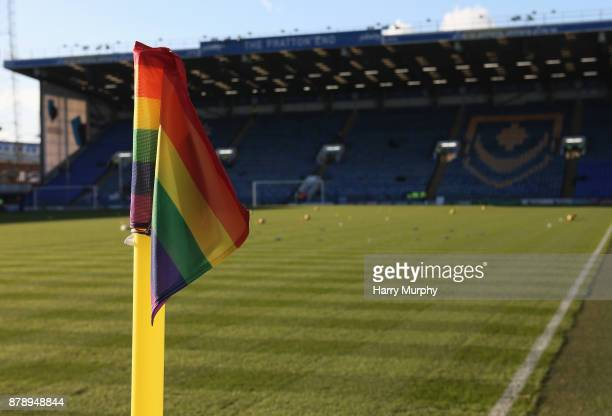 A rainbow corner flag is seen inside the stadium prior to the Sky Bet League One match between Portsmouth and Plymouth Argyle at Fratton Park on...