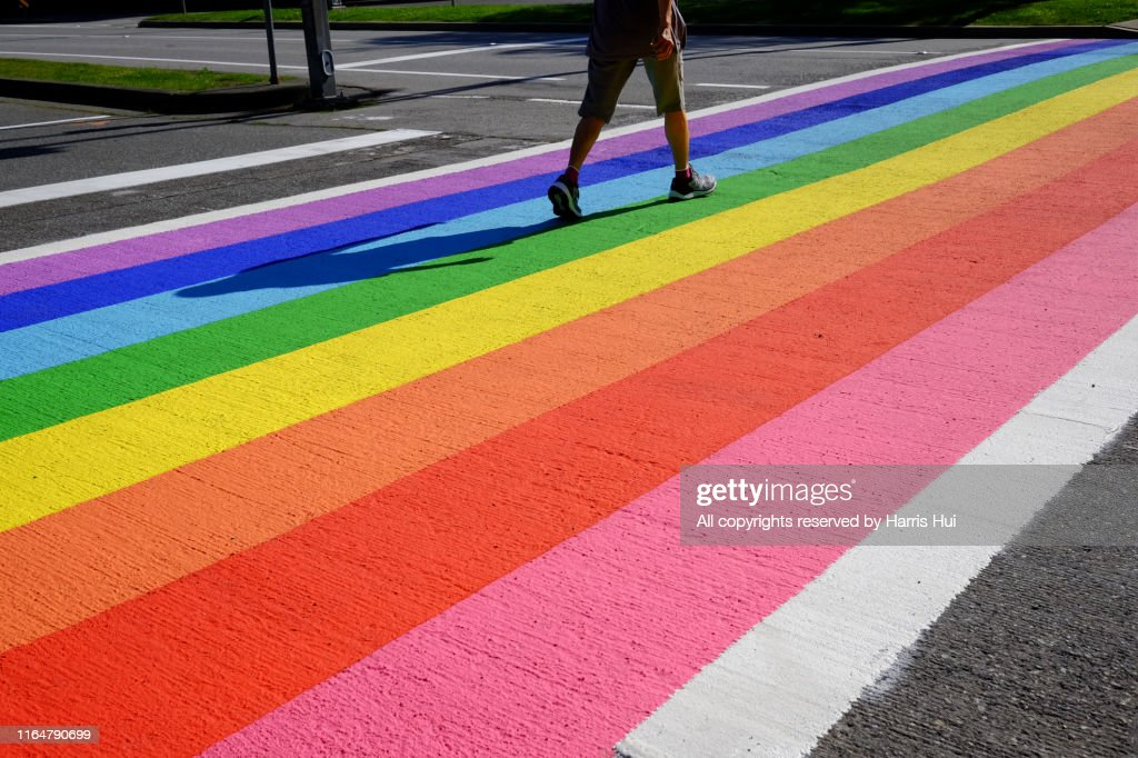 Rainbow Crosswalk at Minoru Boulevard Richmond : ストックフォト