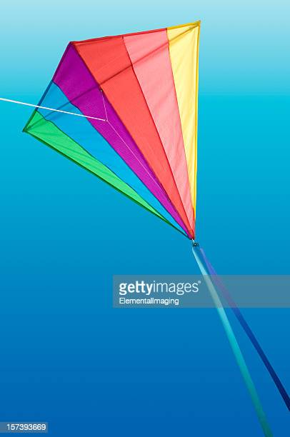 Rainbow Delta Kite on Blue Sky