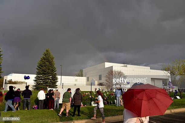 A rainbow emerges over Paisley Park while fans pay respect on April 21 2016 in Chanhassen Minnesota Prince died earlier today at his Paisley Park...