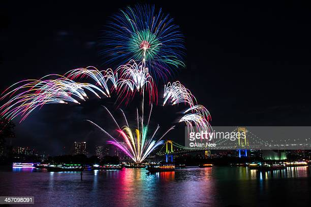 rainbow fireworks - nee nee stock pictures, royalty-free photos & images