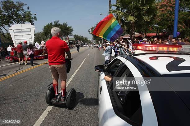 A rainbow flag adorns a Los Angeles County Sheriffs patrol car at the LA Pride Parade on June 8 2014 in West Hollywood California The LA Pride Parade...