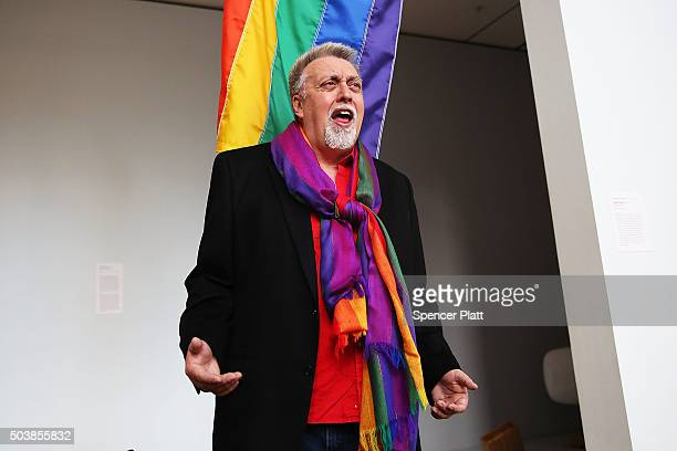 Rainbow Flag Creator Gilbert Baker poses at the Museum of Modern Art on January 7, 2016 in New York City. MoMa announced in June 2015 its acquisition...