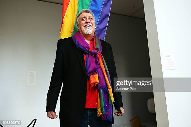 Rainbow Flag Creator Gilbert Baker poses at the Museum of Modern Art on January 7 2016 in New York City MoMa announced in June 2015 its acquisition...
