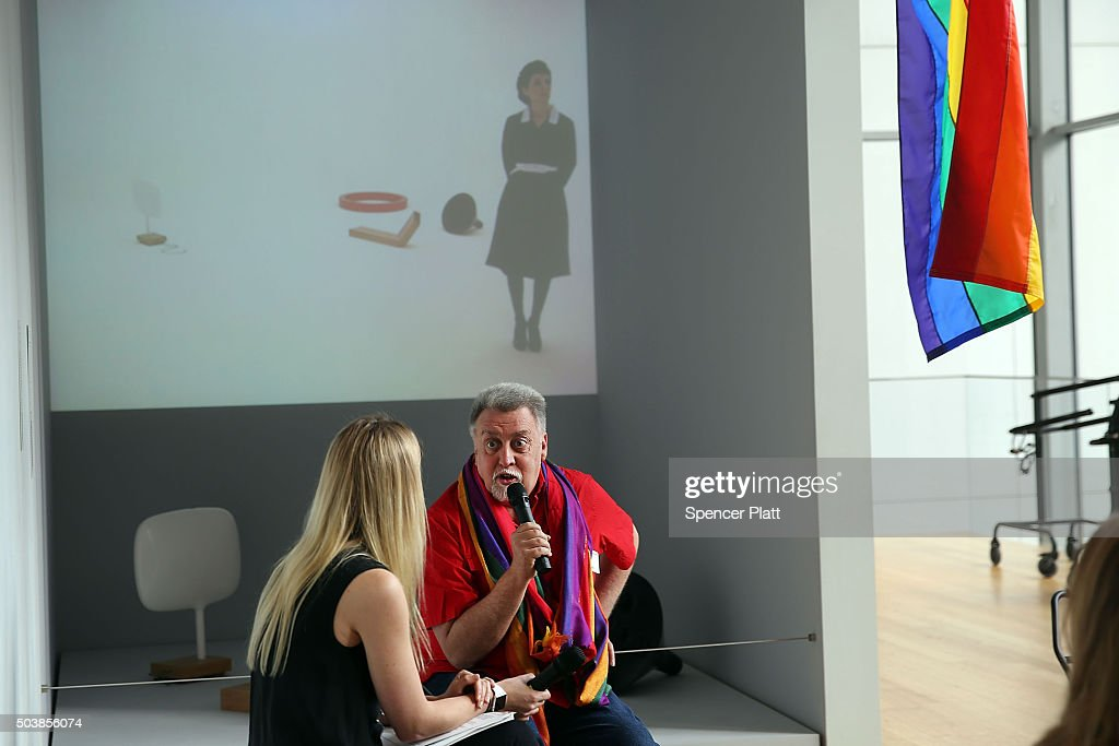 Rainbow Flag Creator Gilbert Baker speaks at the Museum of Modern Art (MoMA) on January 7, 2016 in New York City. MoMa announced in June 2015 its acquisition of the iconic Rainbow Flag into the design collection. Baker, an openly gay artist and civil rights activist, designed the Rainbow Flag in 1978. The flag has since become a prominent symbol to the gay community around the world.