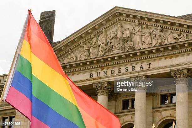 A rainbow flag during a demonstration of activists with the Lesbian and Gay Association of Berlin outside the Bundesrat Germany's Federal Council...