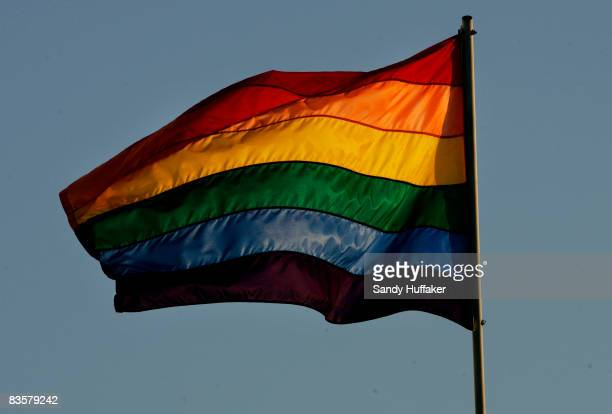 Rainbow flag flies above the San Diego Lesbian Gay Bisexual Transgender Community Center November 5 2008 in San Diego California Proposition 8 which...