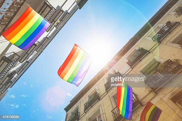 Rainbow Flag Gay Rights Pride in Madrid, Spain