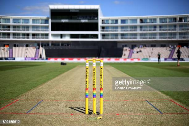 Rainbow flag is seen on the wickets during the Kia Super League Match between Southern Vipers and Western Storm at The Ageas Bowl on August 10 2017...
