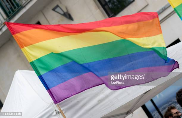 Rainbow Flag of LGBT community during International Day Against Homophobia In Nantes France on 17 May 2019
