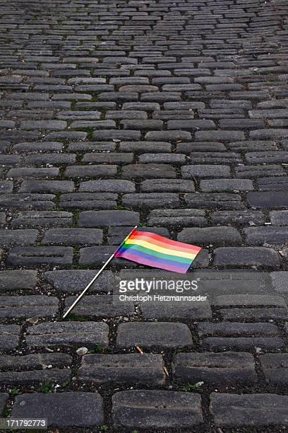 Rainbow flag on street