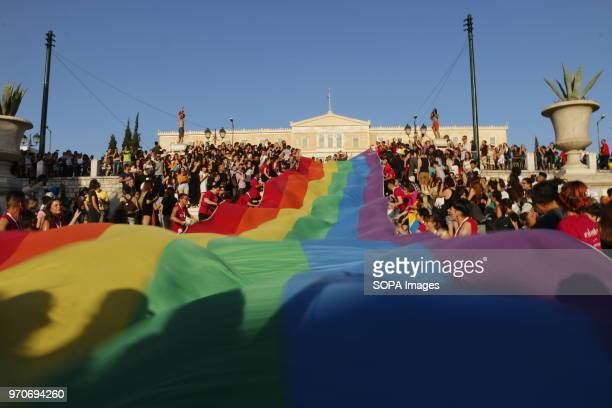 A rainbow flag seen during the pride parade LGBT community of Greece organized Athens Pride Festival in Athens to promote and parade their rights...