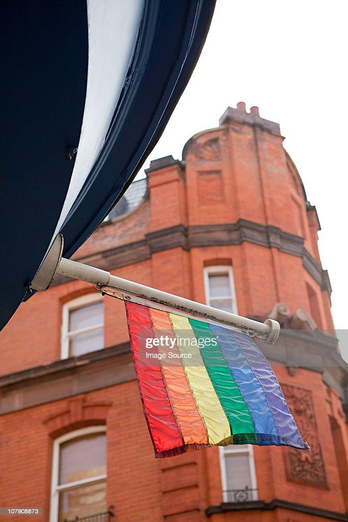 Rainbow flag, Soho, London : Stock Photo