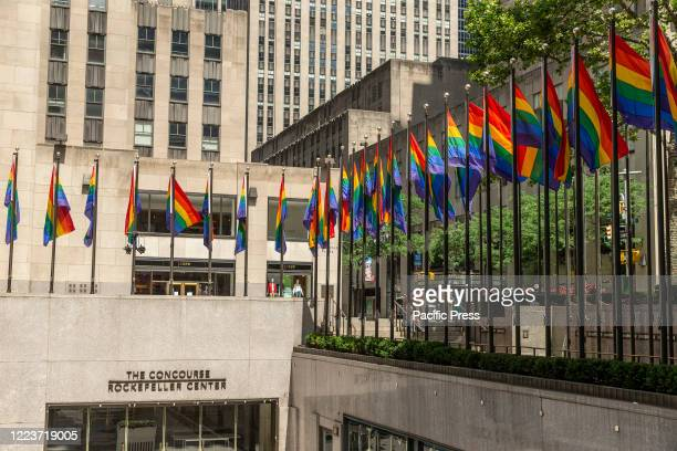 Rainbow flags seen to celebrate Pride Month and 50th anniversary of Stonewall uprising at Rockeffeler Plaza.