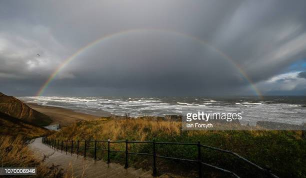 A rainbow forms over a windswept North Sea on November 20 2018 in Saltburn By The Sea England Cold easterly winds are expected to bring lower...