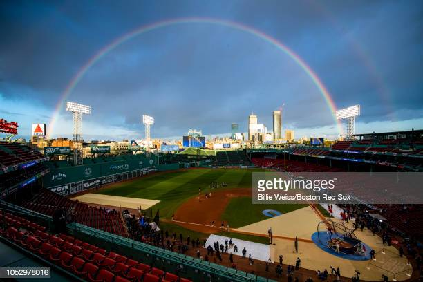 A rainbow forms over Fenway Park before game two of the 2018 World Series between the Boston Red Sox and the Los Angeles Dodgers on October 23 2018...