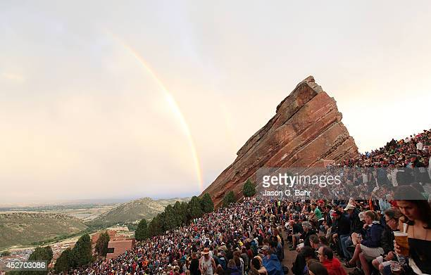 A rainbow forms over Red Rocks Amphitheatre on July 25 2014 in Denver Colorado