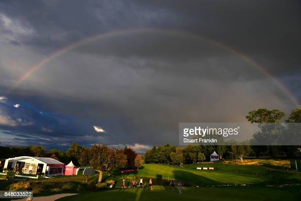 A rainbow forms over the 18th hole during the second round of The Evian Championship 2017 at Evian Resort Golf Club on September 16 2017 in...
