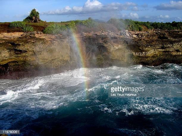 Rainbow from crashing waves
