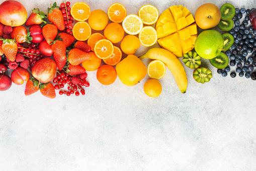 Rainbow fruits background 1129818010