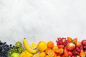 Rainbow fruits background