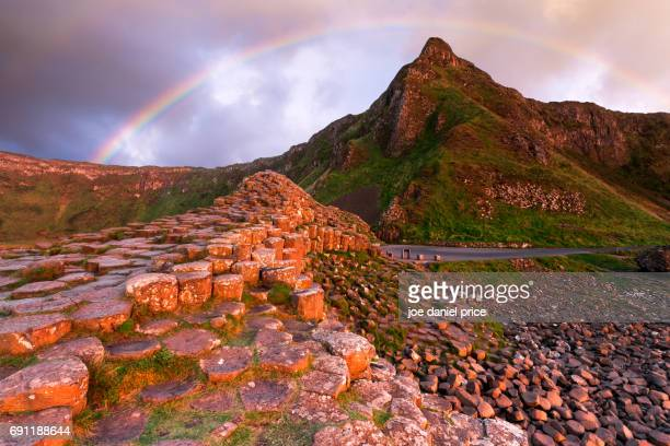 rainbow giants causeway bushmills county antrim northern ireland - county antrim stock pictures, royalty-free photos & images