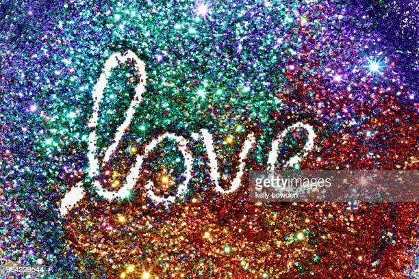 rainbow glitter love word text