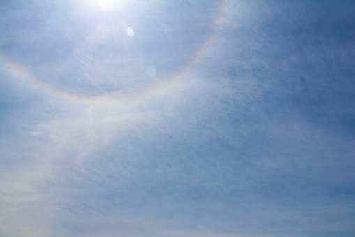 Rainbow halo sun flare in the sky - gettyimageskorea
