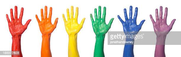 rainbow hands - social awareness symbol stock photos and pictures
