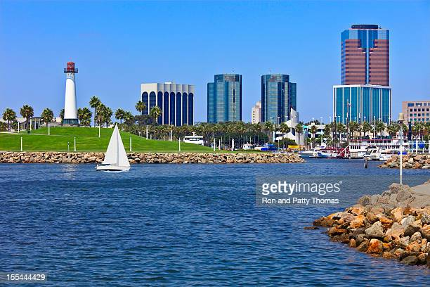 rainbow harbor at long beach, ca (p) - long beach california stock photos and pictures