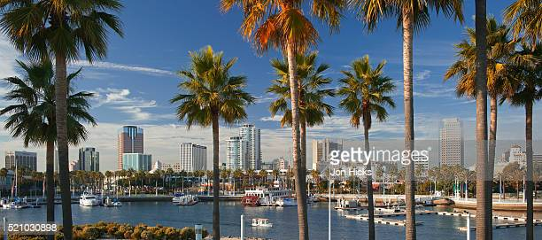 rainbow harbor from shoreline aquatic park. - long beach california stock photos and pictures