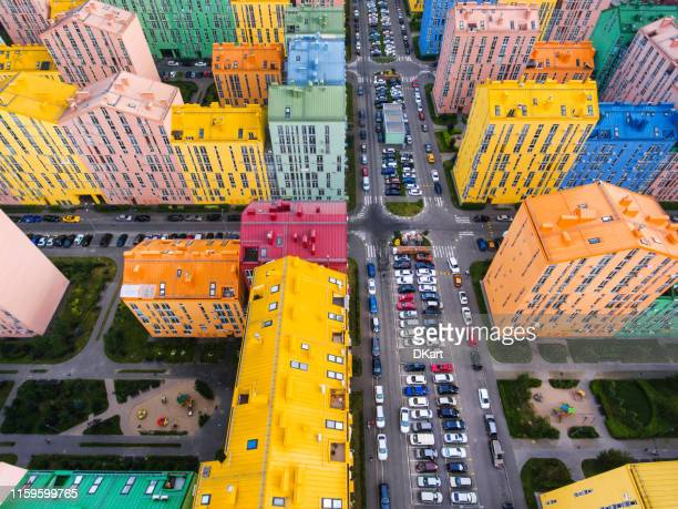 rainbow houses aerial view - ukraine stock pictures, royalty-free photos & images
