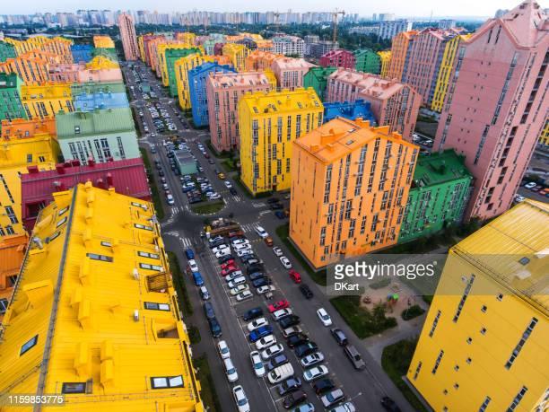 rainbow huizen luchtfoto - noord holland stockfoto's en -beelden