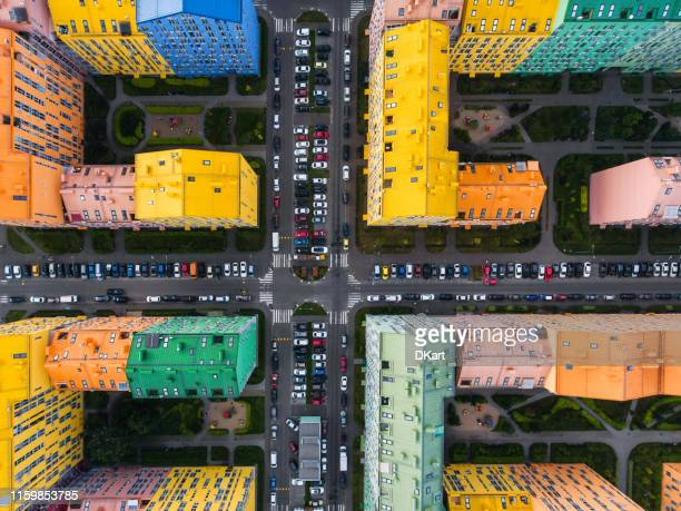 rainbow houses aerial view - aerial view stock pictures, royalty-free photos & images