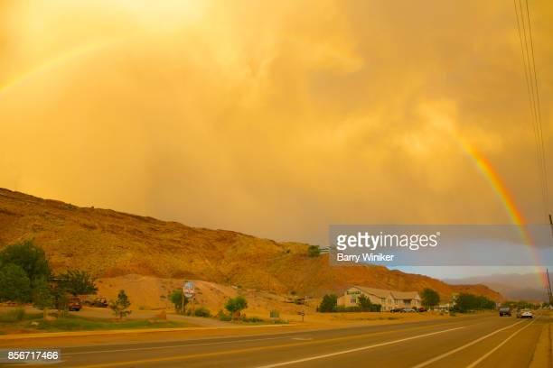 Rainbow in Moab, Utah with golden glow