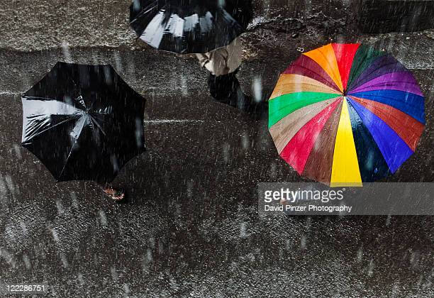rainbow in rain - rain stock pictures, royalty-free photos & images