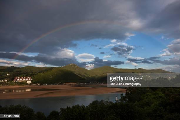 Rainbow in the bay of Urdaibai, in Vizcaya, Basque Country, Spain