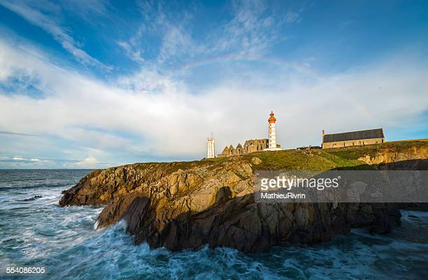 rainbow in the pointe saint mathieu - semaphore stock pictures, royalty-free photos & images