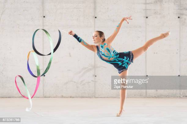 rainbow is my rhythm - rhythmic gymnastics stock pictures, royalty-free photos & images