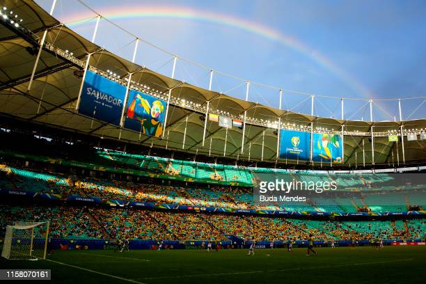 A rainbow is seen after the Copa America Brazil 2019 group B match between Colombia and Paraguay at Arena Fonte Nova on June 23 2019 in Salvador...