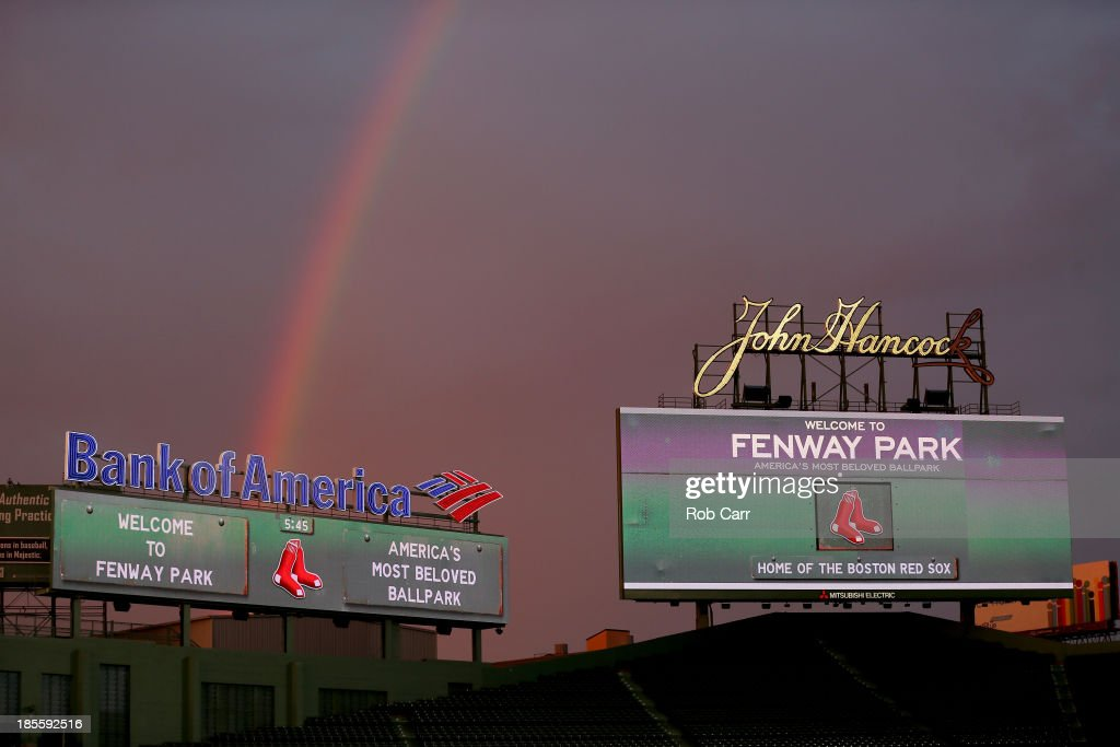 A rainbow is seen duing sunset during team workouts for the Boston Red Sox in the 2013 World Series Media Day at Fenway Park on October 22, 2013 in Boston, Massachusetts. The Red Sox host the Cardinals in Game 1 on October 23, 2013.