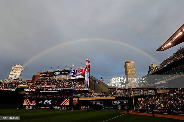 A rainbow is seen during the Gillette Home Run Derby at Target Field on July 14 2014 in Minneapolis Minnesota