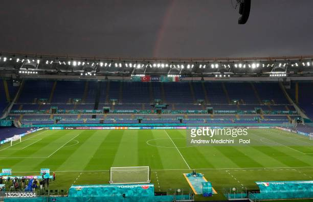 Rainbow is seen during the Italy Training Session ahead of the UEFA Euro 2020 Championship Group A match between Turkey and Italy at Olimpico Stadium...