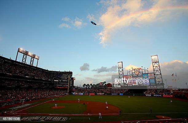 A rainbow is seen over ATT Park during Game Four of the 2014 World Series at ATT Park on October 25 2014 in San Francisco California
