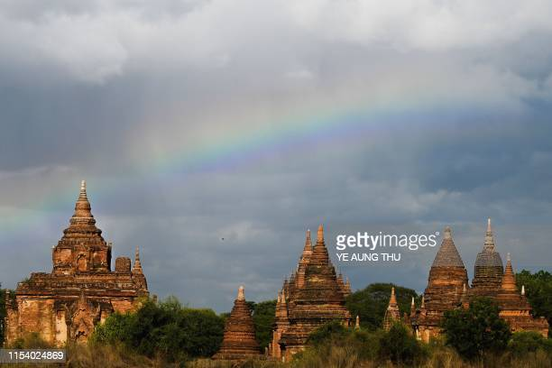 A rainbow is seen over pagodas in Bagan on July 6 2019 The UNESCO World Heritage Committee on July 6 approved the registration of the ancient city of...