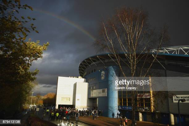 A rainbow is seen over the John Smith's Stadium ahead of the Premier League match between Huddersfield Town and Manchester City at John Smith's...