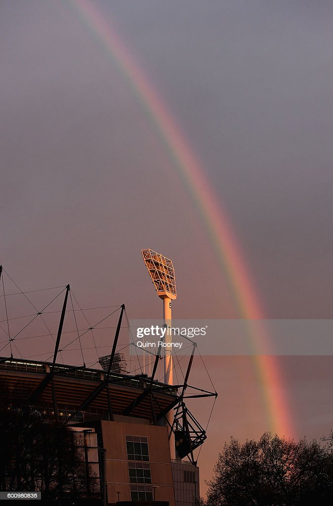 A rainbow is seen over the MCG during the 2nd AFL Qualifying Final match between the Geelong Cats and the Hawthorn Hawks at Melbourne Cricket Ground on September 9, 2016 in Melbourne, Australia.