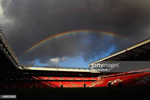 A rainbow is seen over the stadium during the Barclays Premier League match between Liverpool and West Bromwich Albion at Anfield on October 4 2014...