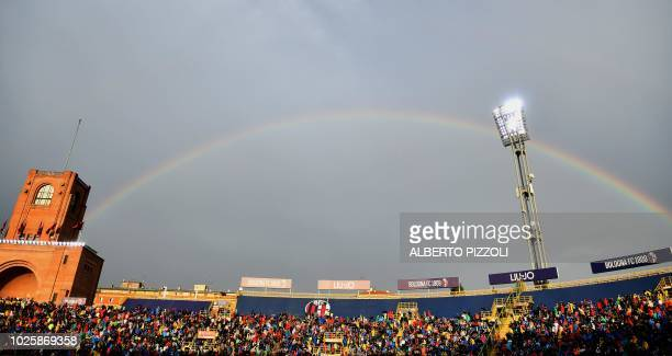 Rainbow is seen over the stadium during the Italian Serie A football match between Bologna and InterMilan at Renato Dall'Ara stadium in Bologna on...