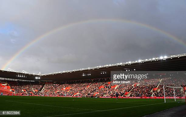 A rainbow is seen over the stadium during the Premier League match between Southampton and Burnley at St Mary's Stadium on October 16 2016 in...